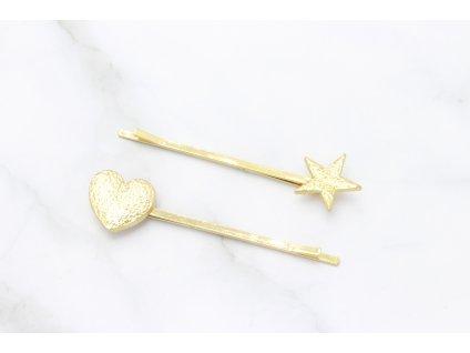 Zlaté sponky so srdiečkom a hviezdičkou