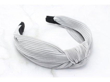 Sivá plisovaná čelenka s uzlom