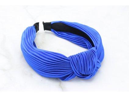 Kráľovská modrá plisovaná čelenka s uzlom
