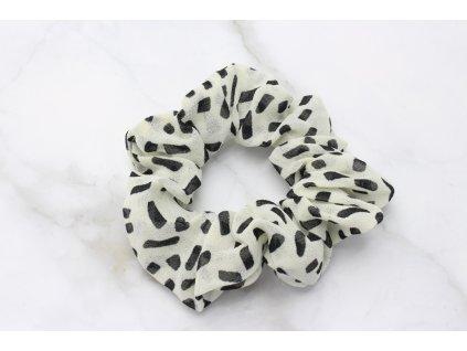 Scrunchie Bielo čierna