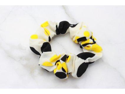 Scrunchie Čierno žlté bodky