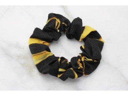 Scrunchie Čierna so zlatým vzorom