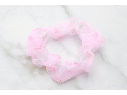 Scrunchie Ružová priesvitná