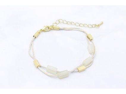 Bielo zlatý retiazkový náramok LIANA
