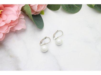 Náušnice s francúzskym zapínaním Biela perla