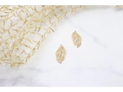 Exkluzívne náušnice Leaves Gold Crystal Quality