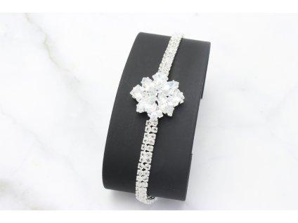 Štrasový náramok  Silver Flower