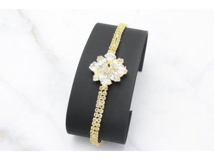 Štrasový náramok  Gold Flower