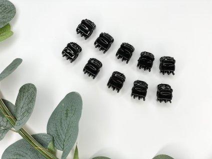 Set čiernych štipcov 10 ks