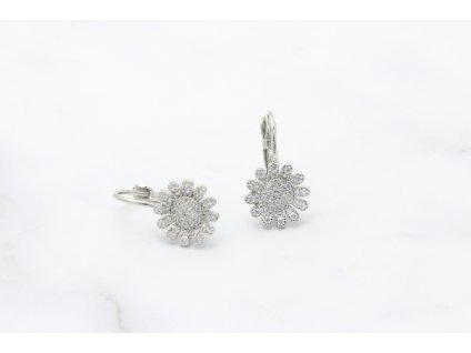 Rhodiované náušnice Calia Silver Crystal