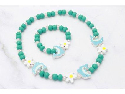 Detský náhrdelník s náramkom Delfíny