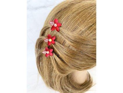 Vlásenka do vlasov Červený kvet s kamienkami
