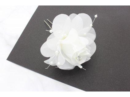 Vlásenka do vlasov biela ruža s bielymi perlami