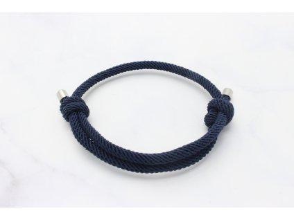 Tmavo modrý náramok-šnúrka s dvoma uzlami