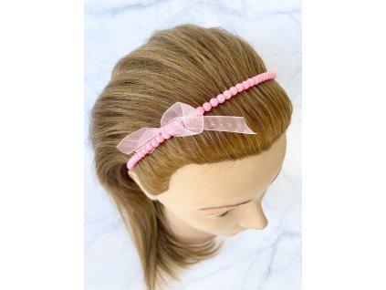 Korálková ružová čelenka do vlasov