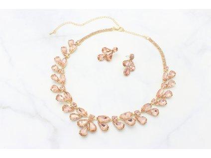 Zlatý náhrdelník s ružovo-lososovými kamienkami