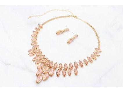 Zlatý náhrdelník s ružovo-lososovými kamienkami Timi