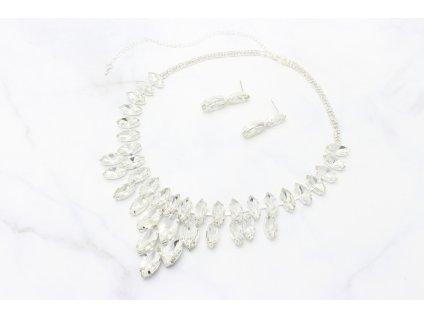 Strieborný náhrdelník vykladaný čírymi kamienkami Timi