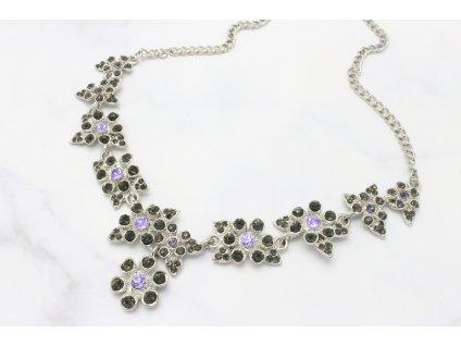 Strieborný náhrdelník Flower so sivými a fialovými kamienkami