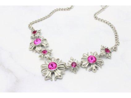 Strieborný náhrdelník Pink flower