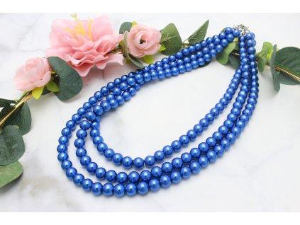Trojitý perlový náhrdelník Royal Blue