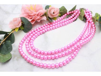 Trojitý perlový náhrdelník Pink