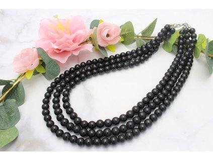 Trojitý perlový náhrdelník Black