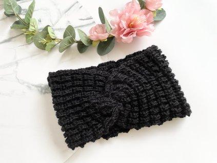 Pletená čelenka s prekrížením čierna HOLY