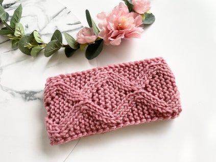 Pletená čelenka ružová JANNA