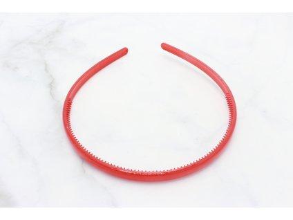 Tenká plastová čelenka do vlasov / červená