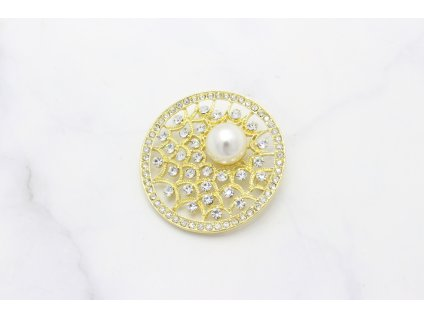Brošňa s perlou Lyra Gold