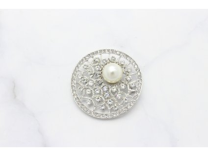 Brošňa s perlou Lyra Silver