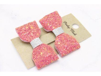 Ružové trblietavé mašle 2 ks