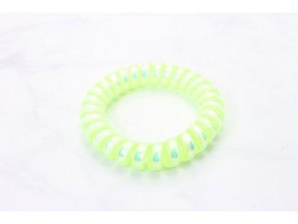 Špirálová gumička holografická neón žltá