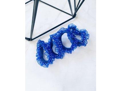 Sada gumičiek s bodkovaným tylom-modrá