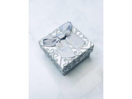 Darčeková krabička vzorovaná malá so striebornou mašľou