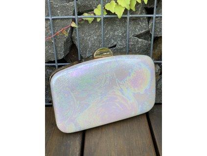 Štýlová holografická kabelka so zlatým zapínaním