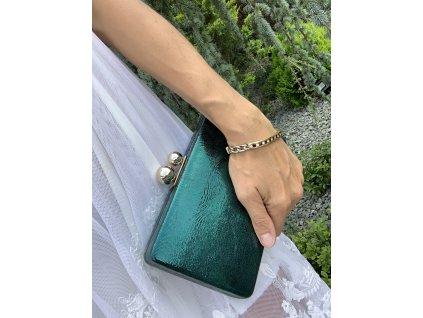 Trendová kufríková kabelka smaragdová