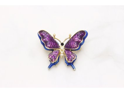 Brošňa fialovo modrý motýľ