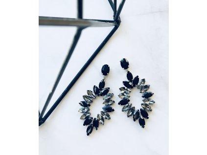 Kamienkové čierno sivé náušnice