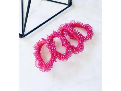 Sada gumičiek s bodkovaným tylom-ružová