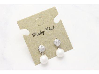 Náušnice kamienky s perlou v striebornom prevedení