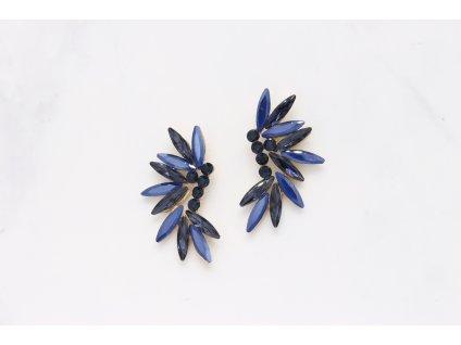 Kamienkové náušnice dva odtiene modrej