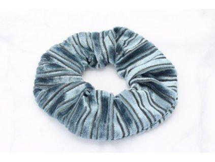 Scrunchie semišová v tyrkysovej farbe