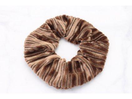 Scrunchie semišová v hnedej farbe