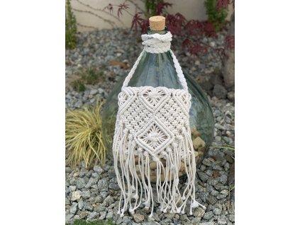 Letná biela prepletaná kabelka so strapcami