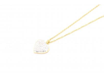 Bezniklová zlatá retiazka s bielym srdiečkom