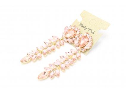 Výrazné kamienkové náušnice - ružovo lososové