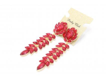 Výrazné kamienkové náušnice - červené