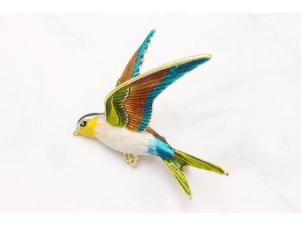 Brošňa farebný vtáčik